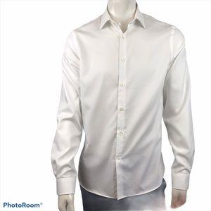 Michael KORS White Button Up Patterned Dress Shirt
